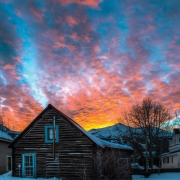 Beautiful Sunset over Historic Buildings n Breckenridge, CO
